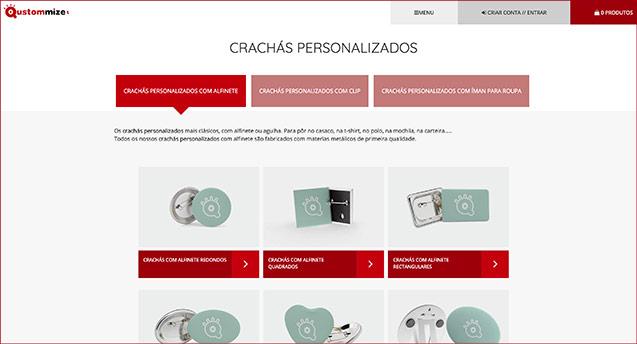 A tua nova página web de produtos personalizados